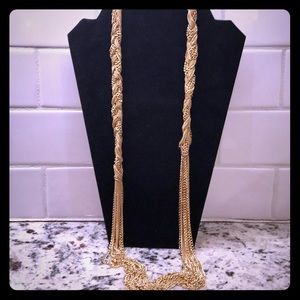 NWT Versona Gold Braided Long Chain Necklace
